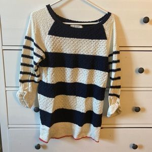 LOFT Stripped Sweater. 3/4 sleeves. Size S.